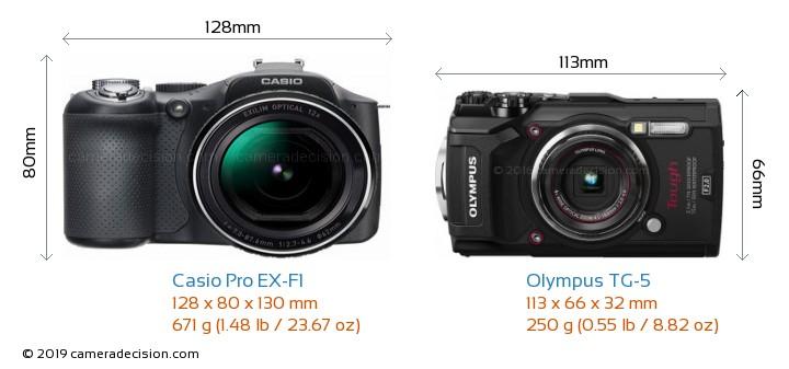 Casio Pro EX-F1 vs Olympus TG-5 Camera Size Comparison - Front View