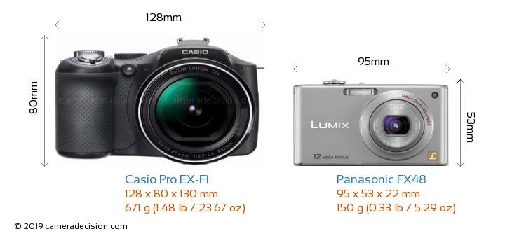 Casio Pro EX-F1 vs Panasonic FX48 Camera Size Comparison - Front View
