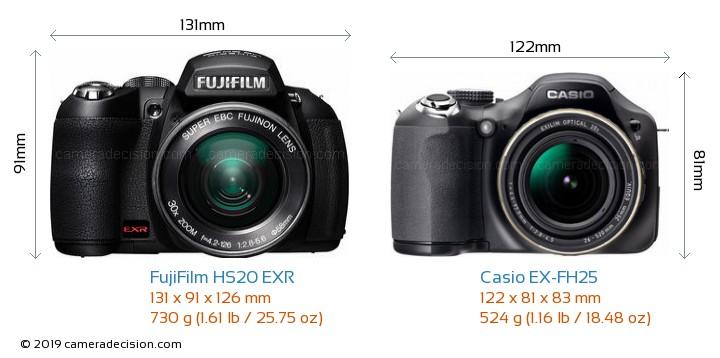 FujiFilm HS20 EXR vs Casio EX-FH25 Camera Size Comparison - Front View