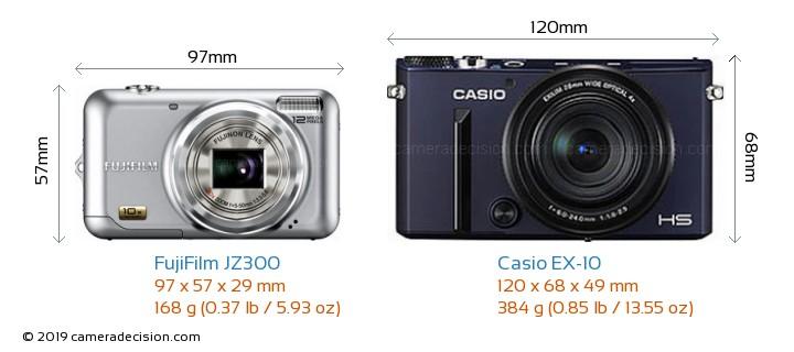 FujiFilm JZ300 vs Casio EX-10 Camera Size Comparison - Front View
