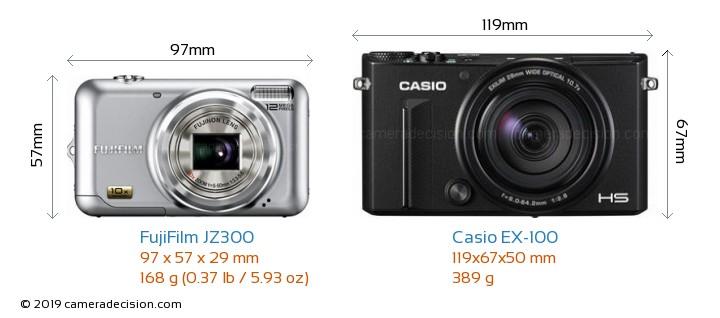 FujiFilm JZ300 vs Casio EX-100 Camera Size Comparison - Front View