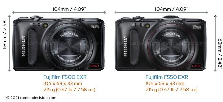 Fujifilm F500 EXR vs Fujifilm F550 EXR Camera Size Comparison - Front View