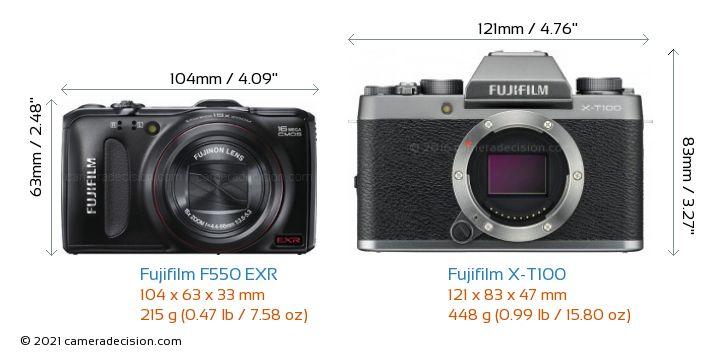Fujifilm F550 EXR vs Fujifilm X-T100 Camera Size Comparison - Front View