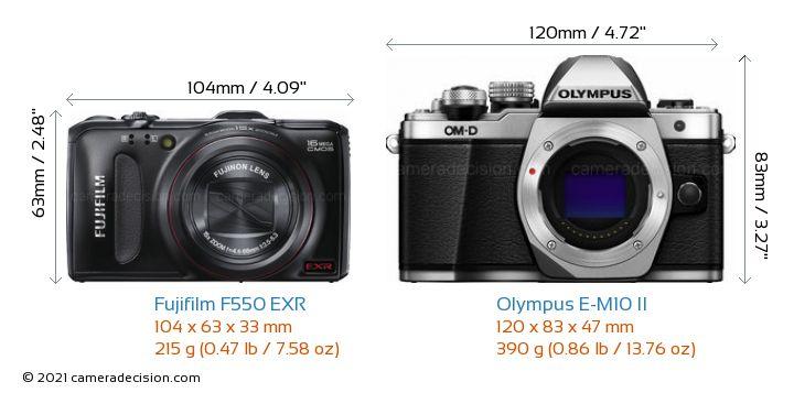 Fujifilm F550 EXR vs Olympus E-M10 II Camera Size Comparison - Front View