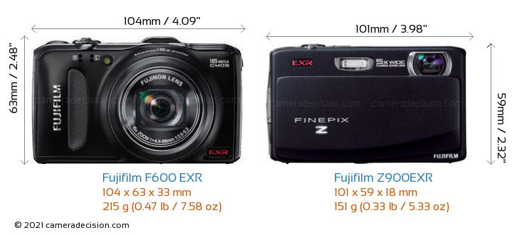 Fujifilm F600 EXR vs Fujifilm Z900EXR Camera Size Comparison - Front View