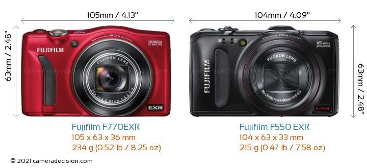 Fujifilm F770EXR vs Fujifilm F550 EXR Camera Size Comparison - Front View