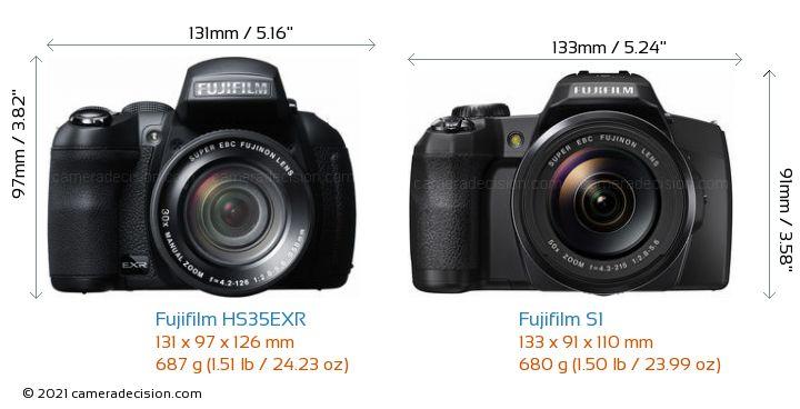 Fujifilm HS35EXR vs Fujifilm S1 Camera Size Comparison - Front View