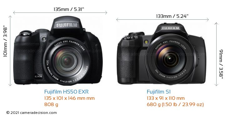 Fujifilm HS50 EXR vs Fujifilm S1 Camera Size Comparison - Front View