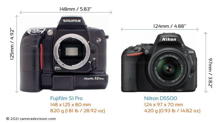 Fujifilm S1 Pro vs Nikon D5500 Camera Size Comparison - Front View