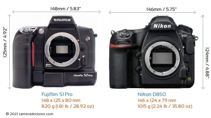 Fujifilm S1 Pro vs Nikon D850 Camera Size Comparison - Front View