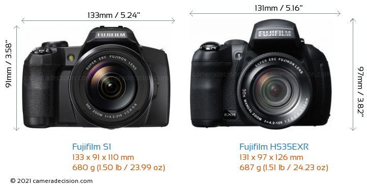 Fujifilm S1 vs Fujifilm HS35EXR Camera Size Comparison - Front View