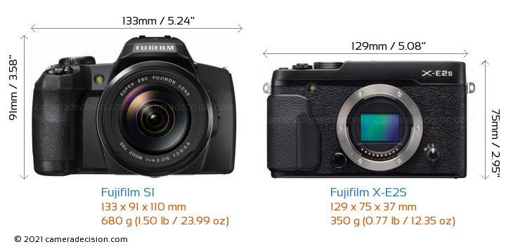 Fujifilm S1 vs Fujifilm X-E2S Camera Size Comparison - Front View