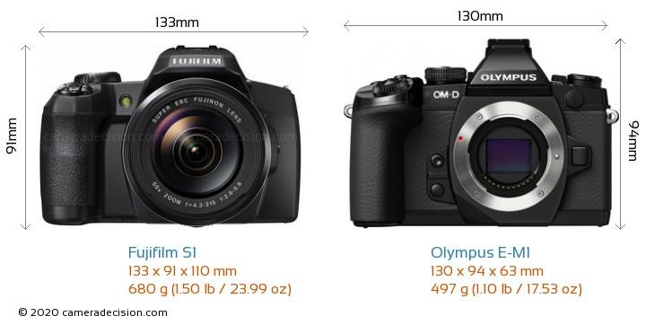 Fujifilm S1 vs Olympus E-M1 Camera Size Comparison - Front View
