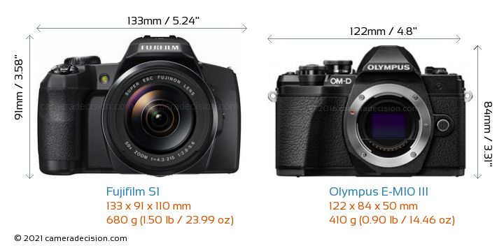 Fujifilm S1 vs Olympus E-M10 MIII Camera Size Comparison - Front View
