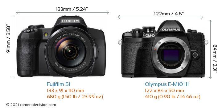 Fujifilm S1 vs Olympus E-M10 MIII Camera Size Comparison - Front View