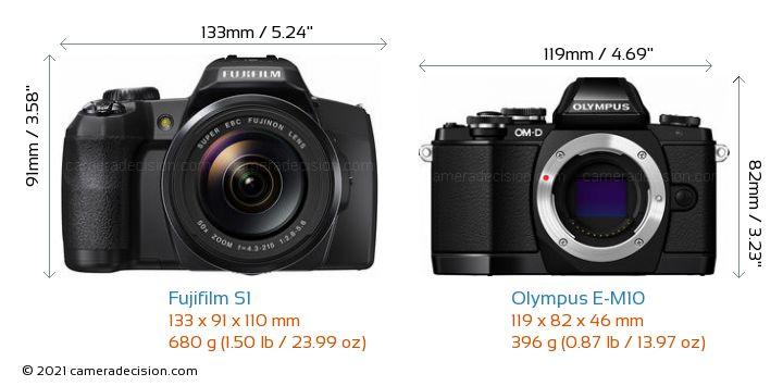 Fujifilm S1 vs Olympus E-M10 Camera Size Comparison - Front View