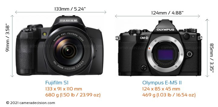 Fujifilm S1 vs Olympus E-M5 II Camera Size Comparison - Front View