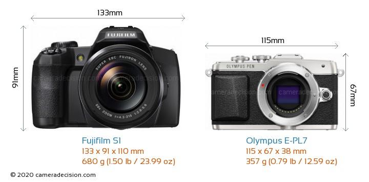 Fujifilm S1 vs Olympus E-PL7 Camera Size Comparison - Front View