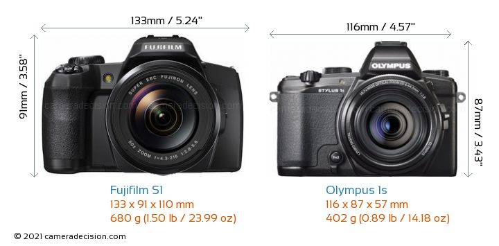 Fujifilm S1 vs Olympus 1s Camera Size Comparison - Front View