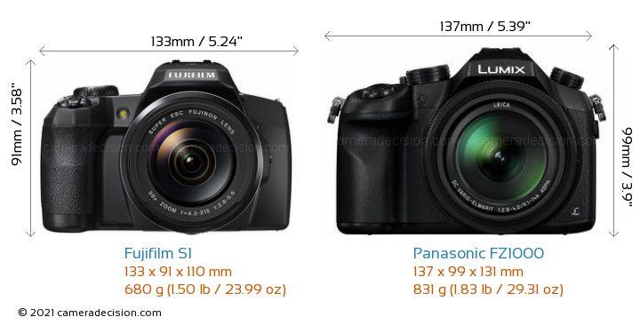 Fujifilm S1 vs Panasonic FZ1000 Camera Size Comparison - Front View