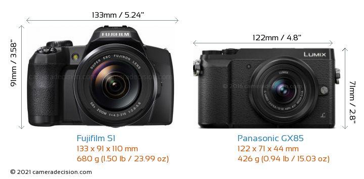 Fujifilm S1 vs Panasonic GX85 Camera Size Comparison - Front View