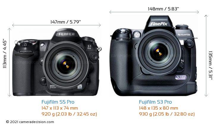 Fujifilm S5 Pro vs Fujifilm S3 Pro Camera Size Comparison - Front View