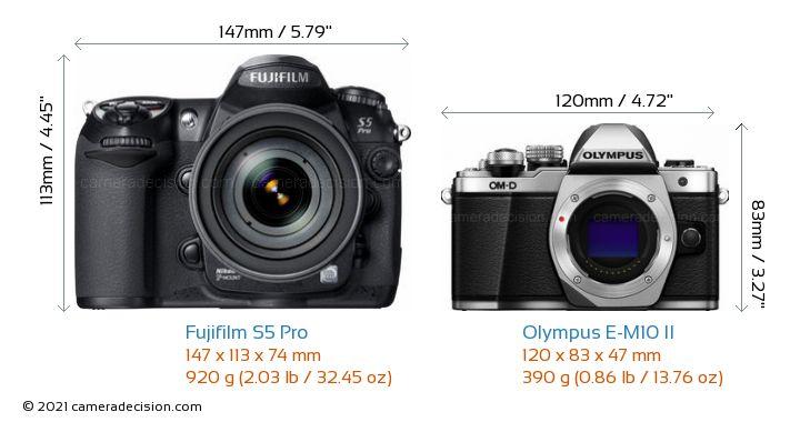 Fujifilm S5 Pro vs Olympus E-M10 II Camera Size Comparison - Front View