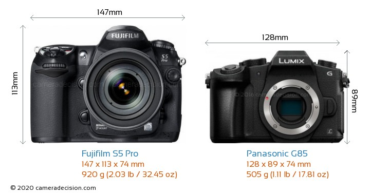 Fujifilm S5 Pro vs Panasonic G85 Camera Size Comparison - Front View