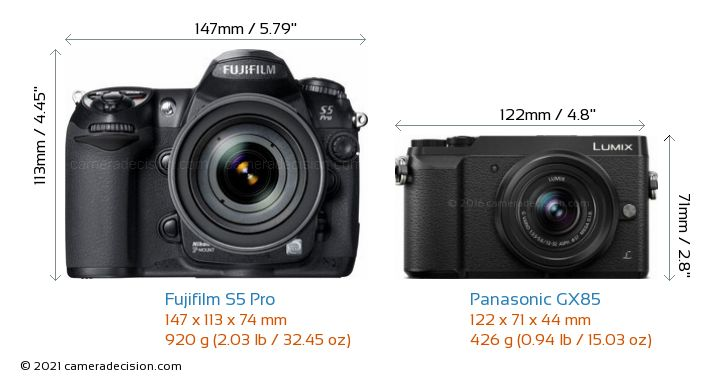 Fujifilm S5 Pro vs Panasonic GX85 Camera Size Comparison - Front View