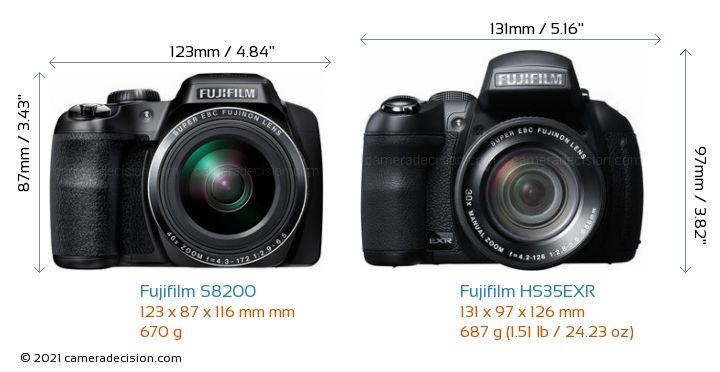 Fujifilm S8200 vs Fujifilm HS35EXR Camera Size Comparison - Front View
