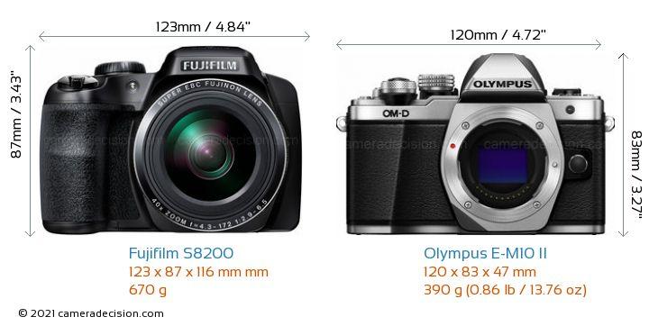 Fujifilm S8200 vs Olympus E-M10 II Camera Size Comparison - Front View
