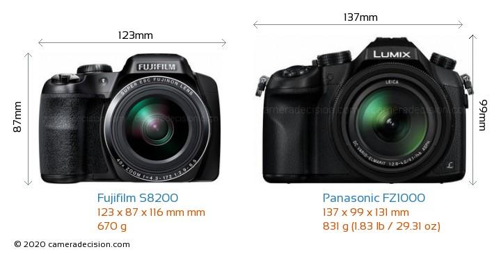 Fujifilm S8200 vs Panasonic FZ1000 Camera Size Comparison - Front View