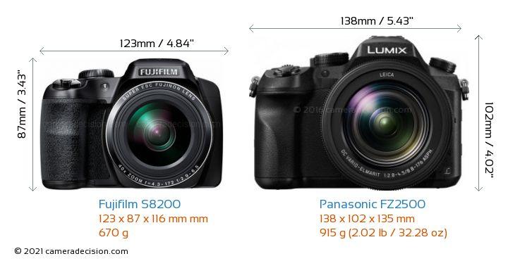 Fujifilm S8200 vs Panasonic FZ2500 Camera Size Comparison - Front View
