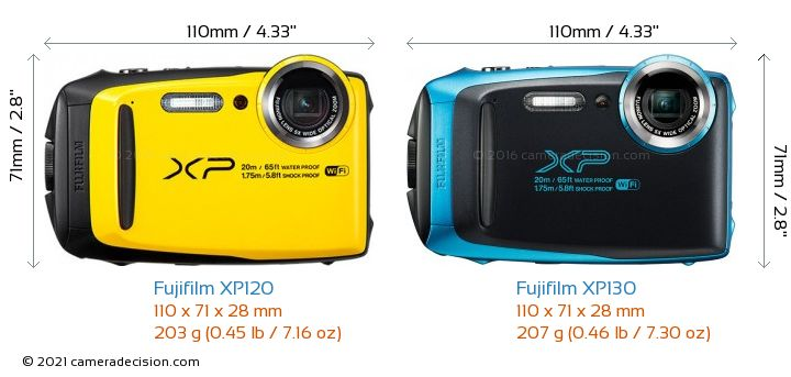 Fujifilm XP120 vs Fujifilm XP130 Camera Size Comparison - Front View