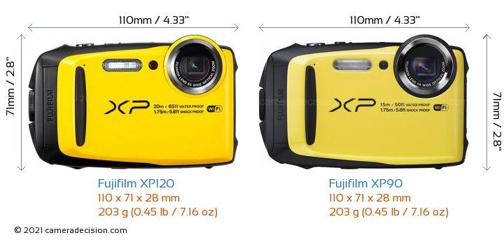 Fujifilm XP120 vs Fujifilm XP90 Camera Size Comparison - Front View