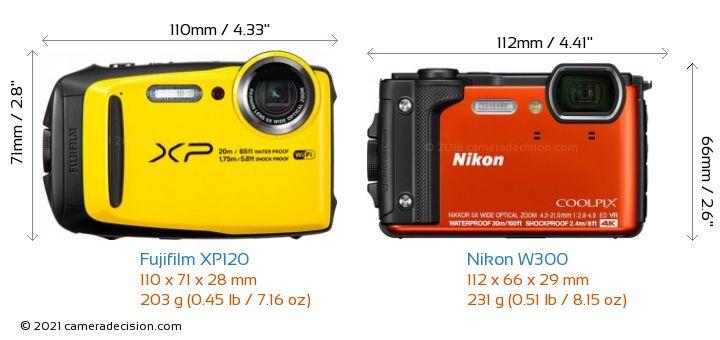Fujifilm XP120 vs Nikon W300 Camera Size Comparison - Front View
