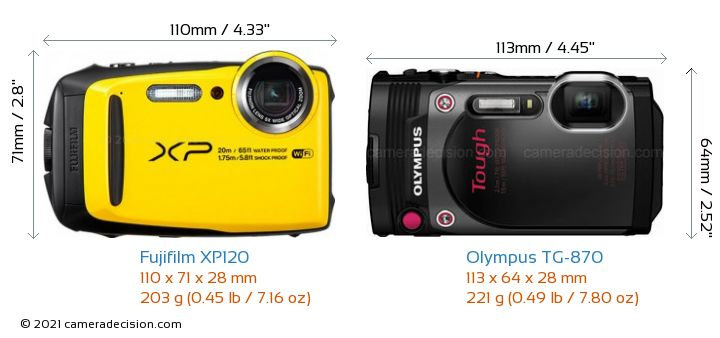 Fujifilm XP120 vs Olympus TG-870 Camera Size Comparison - Front View