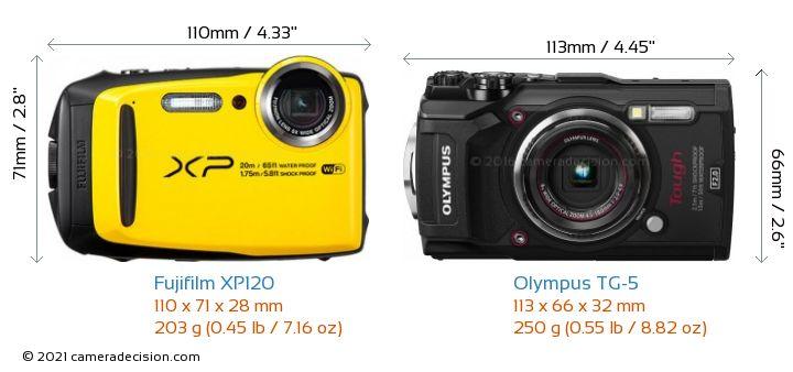 Fujifilm XP120 vs Olympus TG-5 Camera Size Comparison - Front View