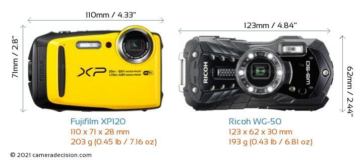 Fujifilm XP120 vs Ricoh WG-50 Camera Size Comparison - Front View