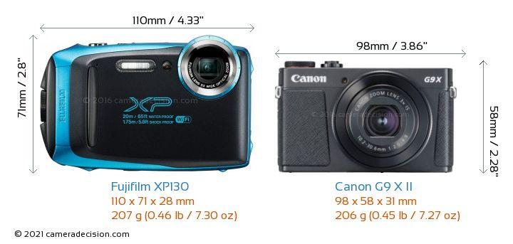 Fujifilm XP130 vs Canon G9 X II Camera Size Comparison - Front View