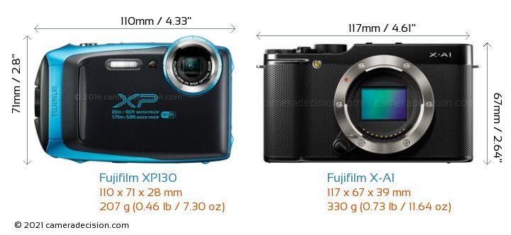 Fujifilm XP130 vs Fujifilm X-A1 Camera Size Comparison - Front View