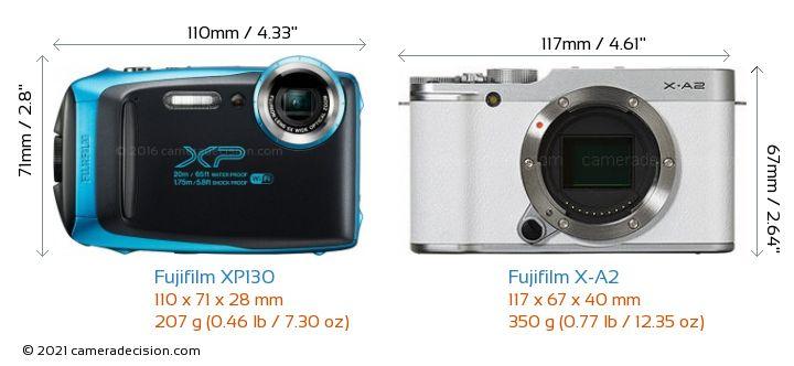 Fujifilm XP130 vs Fujifilm X-A2 Camera Size Comparison - Front View