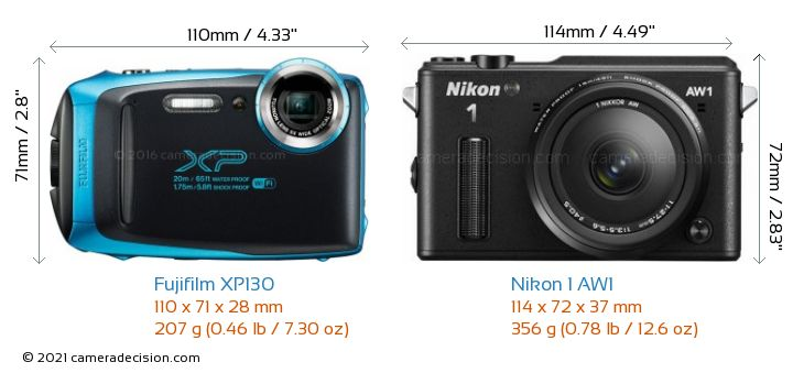 Fujifilm XP130 vs Nikon 1 AW1 Camera Size Comparison - Front View