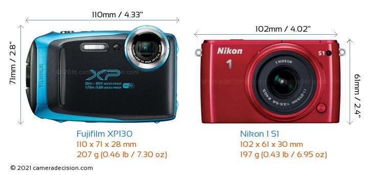Fujifilm XP130 vs Nikon 1 S1 Camera Size Comparison - Front View