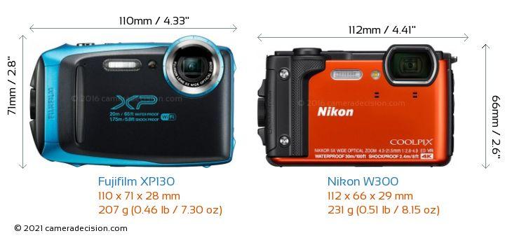 Fujifilm XP130 vs Nikon W300 Camera Size Comparison - Front View
