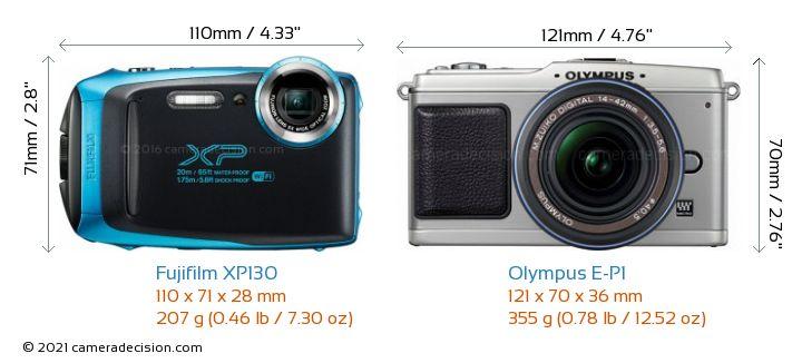 Fujifilm XP130 vs Olympus E-P1 Camera Size Comparison - Front View