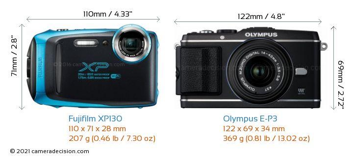 Fujifilm XP130 vs Olympus E-P3 Camera Size Comparison - Front View