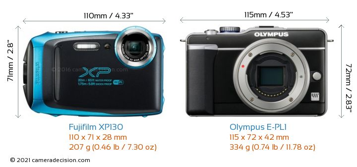 Fujifilm XP130 vs Olympus E-PL1 Camera Size Comparison - Front View