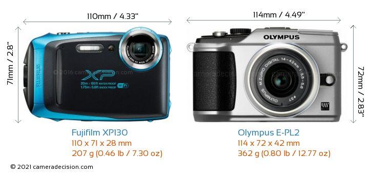 Fujifilm XP130 vs Olympus E-PL2 Camera Size Comparison - Front View