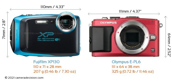 Fujifilm XP130 vs Olympus E-PL6 Camera Size Comparison - Front View